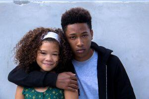 Actress Storm Reid (Tina) with actor Jacob Latimore (Bo); Picture by WWE Studios
