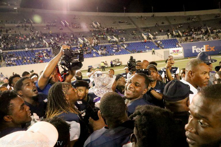 Jackson State University football team excited about Southern Heritage Classic win against Tennessee State University.